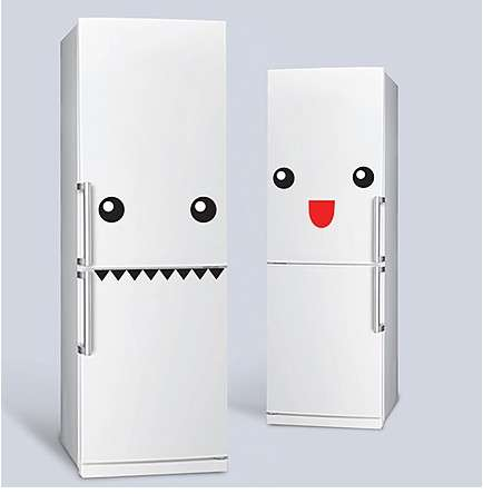 Refrigerator Face Decals - The Fridge Monster Stickers are a Way to Give Your Fridge Personality