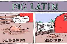 Clever Agricultural Cartoons - This Pig Latin Comic by Grant Snider is a Play on Words