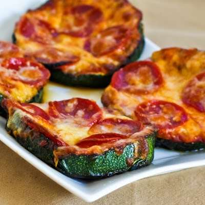Cheesy Veggie Tarts - The Kalyn Kitchen Grilled Zucchini Pizza Slices are a Healthy Option