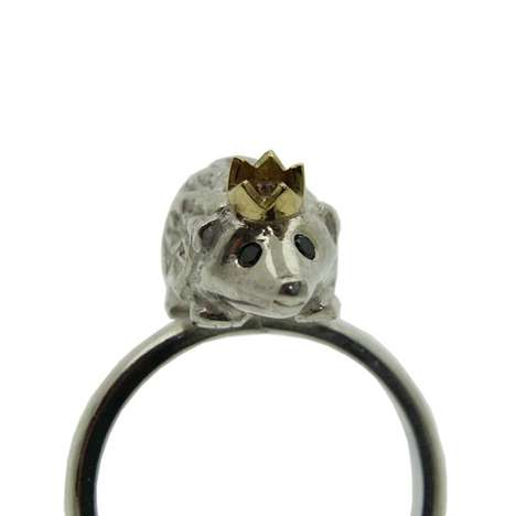 Miniature Mammal Jewelry - The Hedgehog Ring by Rock Cakes Combines Animals and Accessories