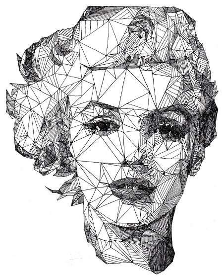 Surreal Triangular Pen Portraits