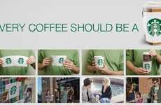 Brand-Trading Coffee Sleeves - Starbucks Postcard Sleeves Cover the Shame of Other Brands