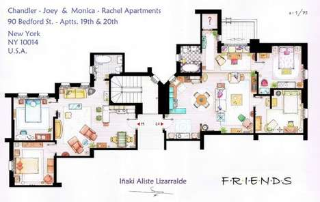 TV Comedy Apartment Blueprints - The Lizarralde Sitcom Flat Floor Plans Detail the Set of Frasier