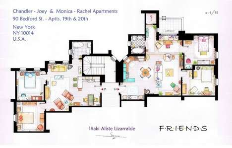 TV Apartment Floor Plans - Inaki Aliste Lizarralde Illustrates Famous Fictional Living Spaces