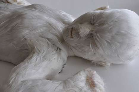 Feather-Covered Human Sculptures - Lucy Glendinning Crafts Figures with Avian and Humanoid Qualities
