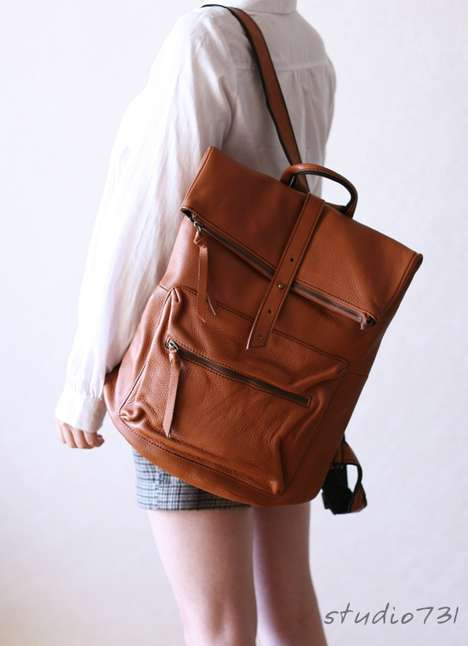 Expandable Leather Napsacks - The Square Shape Leather Backpack by Studio 731 is Gorgeous