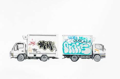 Graffitied Vehicle Drawings - Paul White Illustrates Trucks Marred with Street Art
