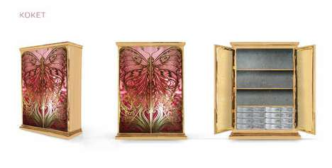 Elegant Butterfly-Patterned Cabinets - The Koket Mademoiselle Armoir is Fit for a Princess