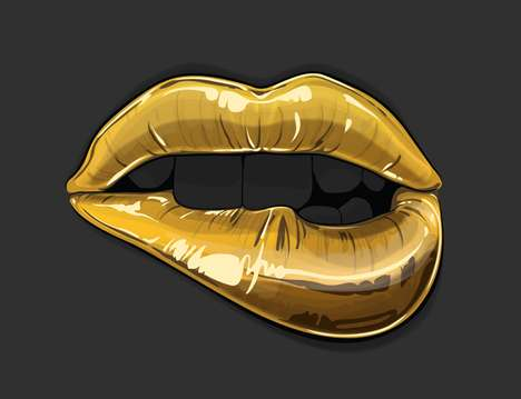 Midas Mouth Renderings - Gerrel Saunders Illustrates a Series Depicting Golden Lips and Teeth