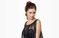 All-Tassel Tops - The Counterculture Black Fringe Tank is Full of Frills