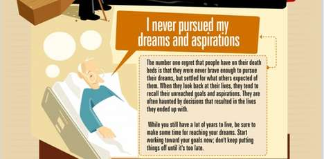 Life Lesson Infographics - This Top Ten Regrets Chart Details Thoughts of the Dying