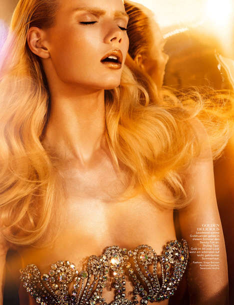 Sensual Midas Touch Photoshoots - Go For Gold for 1st Magazine is Glossy and Vibrant