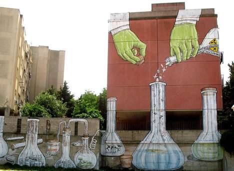 Mad Scientist Militarism Murals - The Blu Sardinia Wall Brings Attention to Italy's Chernobyl