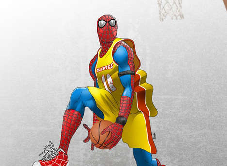Superheroic Dunk Portraits - Pramod Koshy George Renders Marvel Characters as Highflying NBA Stars