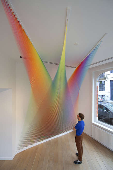 Suspended Rainbow Thread Installations (UPDATE) - The Plexus Series by Gabriel Dawe is Chromatic