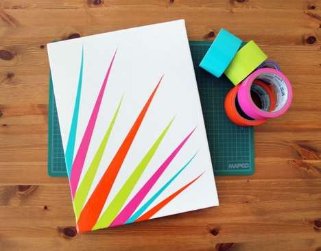 DIY Adhesive Artworks - The Brit & Co. Duct Tape Canvas is an Affordable Home Decor Project