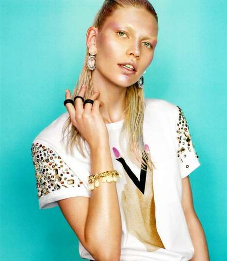 Vibrant Candy-Colored Couture - Aline Weber for H&M Magazine Fall is a Playful Metallic Series