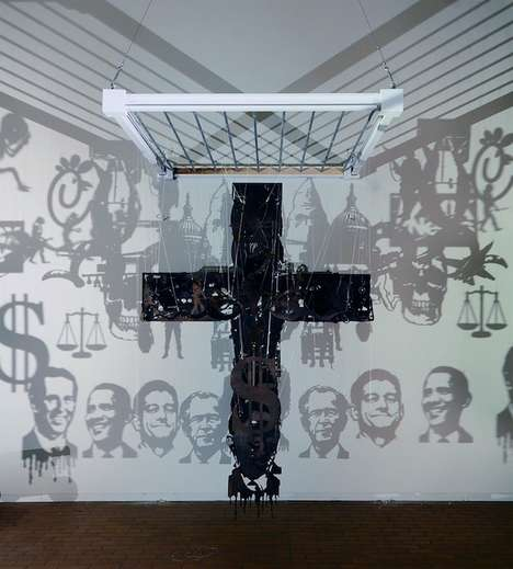 Controversial Political Crucifixes - The Thought-Provoking Michael Murphy Sculpture Shocks