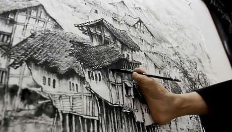 Huang Guofu Creates Artworks Using Only His Mouth and Feet