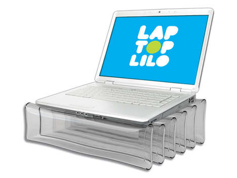 Inflatable Computer Cushions - The Just Mustard Laptop Lilo is Heat Resistant and Portable
