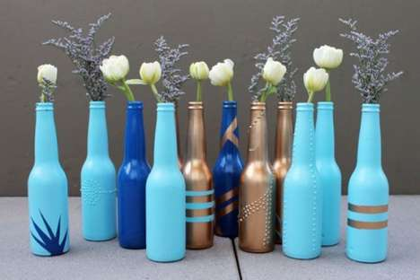 DIY Personalized Flower Vases - The Brit & Co. Beer Bottle Project is a Great Way to Recycle