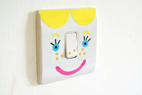Personified Light Switches - The 'Trendy Girl' Kawaii Stickers by Hager Kallysta are Easy to Use