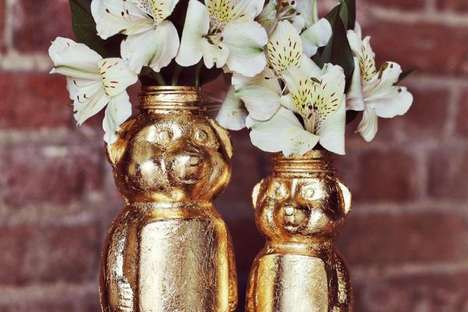DIY Golden Animal Vases - The A Beautiful Mess Honey Bear Containers are Eye-Catching