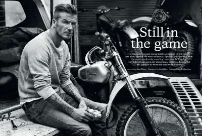 Vintage Monochromatic Photoshoots - David Beckham for Esquire UK is Dapper and Rustic