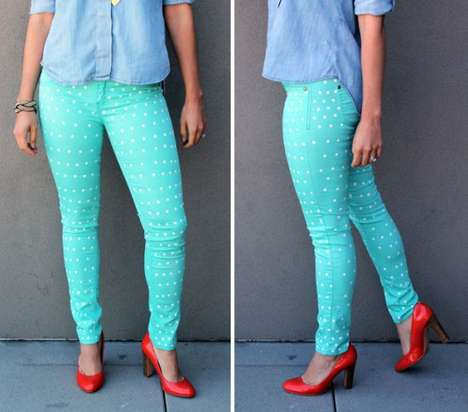 DIY Circular Painted Leggings - The Brit & Co. Polka-Dotted Pants are Stylish and Easy to Make