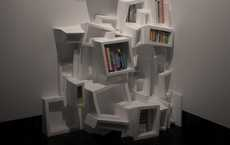 Chaotic Clustered Cubbies - These Experimental Bookshelves Rely on Data for Their Design