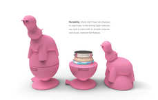 Plaything Food Protectors - The Fun Safari Friends Containers Hold Fragile Jars of Baby Food