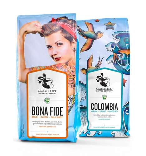 Pinup-Branded Java - The Goshen Coffee Company Shows Retro Nautical Packaging