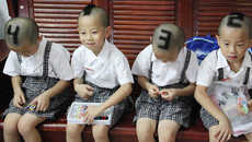 Arithmetic-Inspired Hairdos - Parents in South China Give Their Quadruplet Boys Numbered Haircuts
