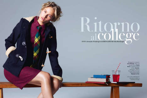 Collegiate Couture Captures - A Magazine Italy 'Ritorno al College' Editorial Goes Back To School