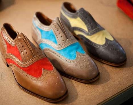 Color-Splashed Wingtip Shoes