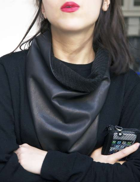 Soft Leather Accessories - The Luxirare Leather Scarf Makes it Cool to Be Warm