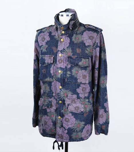 Floral Denim Designs - Guylook's Flower Print Military Jacket Springs up for Autumn