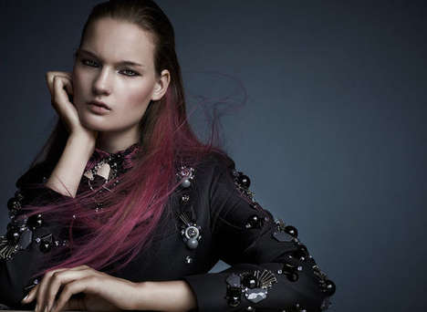 Fuchsia-Tipped Hair Editorials
