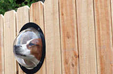 Spying Canine Orbs - Amuse Your Neighbors with a Peek-a-Boo Dog Window