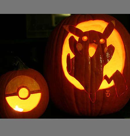 Pocket Monster Pumpkin Carvings