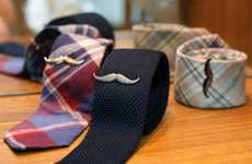 Macho Facial Hair Accessories - The Mustache Tie Clip Sits in Until Hair Grows Back