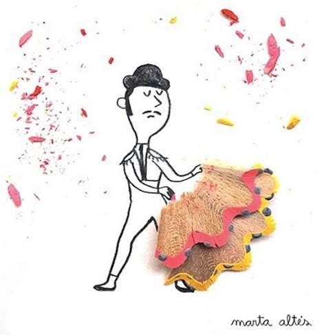 Mixed Media Childlike Drawings