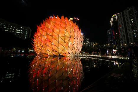 Gigantic Glowing Spherical Lanterns