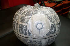 Sci-Fi Halloween Pumpkins - The Glow-in-the-Dark Death Star Pumpkin is Perfectly Painted