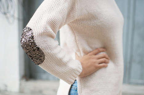 Subtle Sequin-Patched Sweaters
