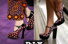 Thrifty Geometric-Patterned Pumps - Fashion Magazine Recreates the Prada Fall DIY Platform