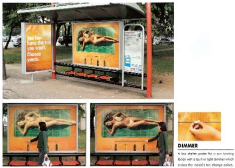 Interactive Bus Stop Ads - Crank Up the Bikini Model's Tan