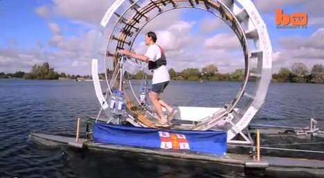 Floating Human Hamster Wheels