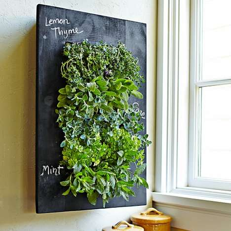 Blackboard Herb Gardens - The Chalkboard Wall Planter Lets You Label Your Leaves