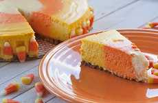 Creamy Autumn-Candied Desserts - Give Your Cake a New Spin With the Candy Corn Cheesecake Recipe